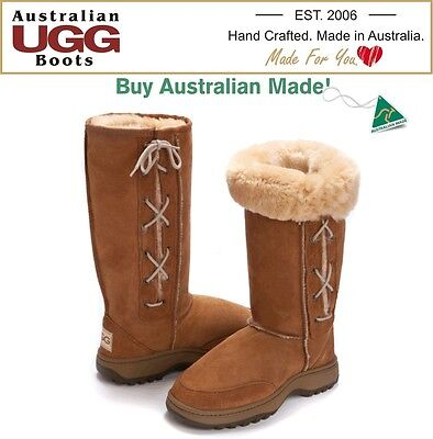 NEW 100% Australian Made HIKING Sole Lace UP Ugg Boots - Great for Camping!