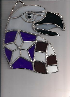 Eagle Head Stained Glass Sun Catcher Red White Blue With Star  9 T X 8 W New