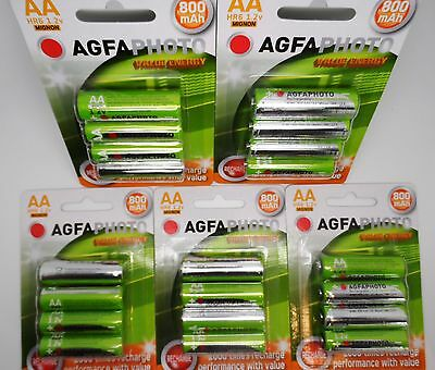 20 x AA SOLAR GARDEN LIGHT AGFA  RECHARGEABLE BATTERIES 1.2v 800mAh