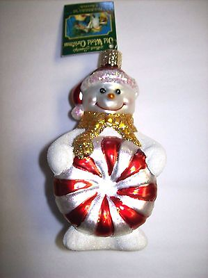 """""""Glistening Peppermint Party Snowman"""" (24131) Old World Christmas Glass Ornament"""