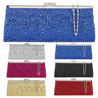 Satin lace Party Sequins evening Clutch Bag Womens Ladies Diamante Handbags