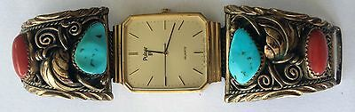 S. Ray Native American Sterling Turquoise & Coral Men's Gold Washed Watch Ends