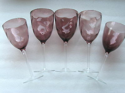 """5  FRENCH CRYSTAL  PEDESTAL PURPLE GOBLET  9 1/4"""" Perfect"""