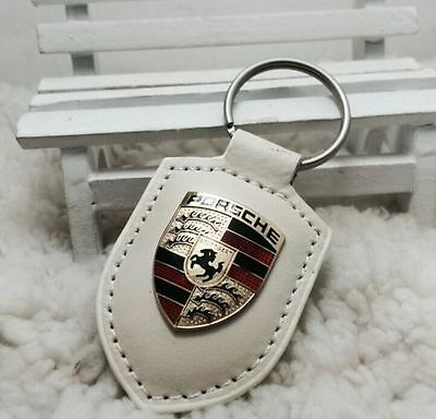 Porsche Design Key Chain Badge Logo Leather Key Ring Gold Crest Keychaing white