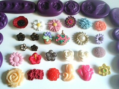 FLOWERS Silicone Moulds Sugarpaste Fondant Cake Decorating Fimo Icing Tool