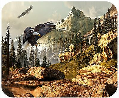 Mouse Pad Custom Personalized Thick Mousepad - Bald Eagle In Mountains