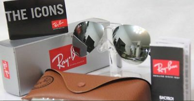 213e28ccb8c NEW REAL Ray Ban Aviator RB3025 W3277 Sliver mirrored lens Sliver Frame all  Size