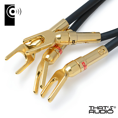 4 x EDGE 24K Gold plated Y Fork Speaker Spade /Amp cable connectors - SP1