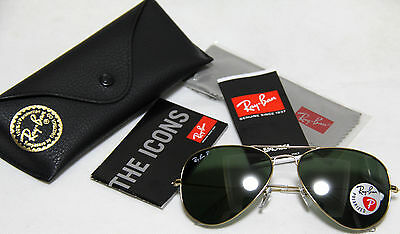 fb57ad917e Genuine Ray Ban Aviator Polarized RB3025 001 58 all size Gold Frame Green  Lens
