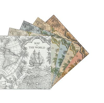 2 Serviettes en papier Carte du monde - Paper Napkins Map of the world