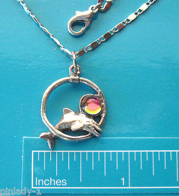 DOLPHIN through circle - necklace , pendant  GIFT BOXED
