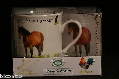 "Kent Pottery ""Longmane"" Horse Mug & Coaster Set NEW"