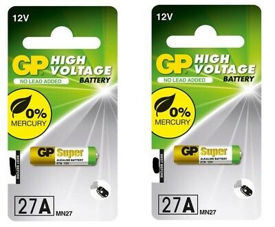 2 x GARAGE DOOR GATE REMOTE ALKALINE BATTERIES GP27A GP 27A