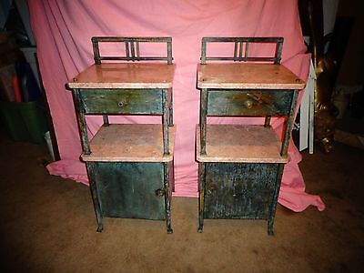 ANTIQUE french BRASS w,MARBLE TOP end TABLES,stands..NIGHTSTANDS !!