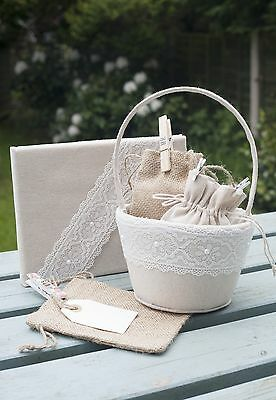 Linen and Lace Wedding Guest Book flower basket and favour bag pouch