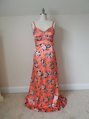 Vintage 1940s Long Luxurious BOMBSHELL EVENING GOWN Peach Floral Rayon Silk