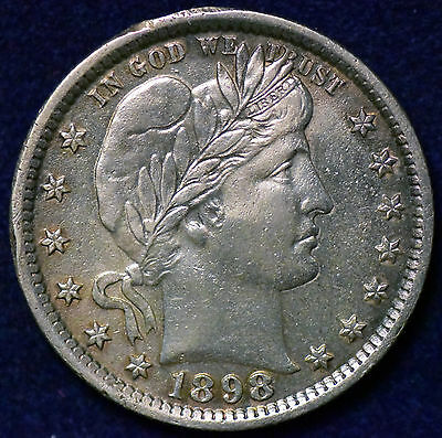 1898 Barber Quarter Choice Almost Uncirculated