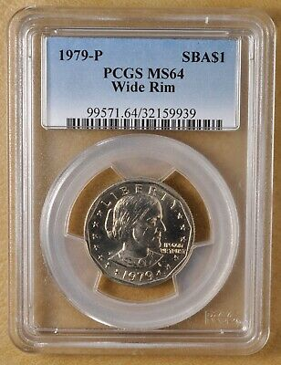 "1979 P Susan B Anthony Dollar ""Wide Rim"" PCGS MS64"