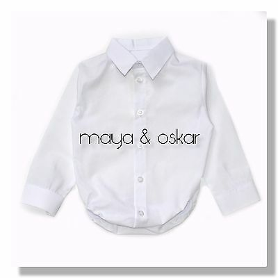 Baby Boy White Blue Smart Shirt Formal Bodysuit Body Shirt Long Sleeve 0-24M