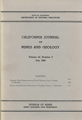 Tulare County, GOLD and tungsten mines, Calif, RARE vintage 1st ed, BIG MAP! VG+