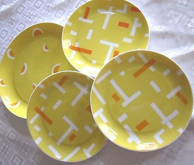 BLOCK Bidasoa 4 PLATES Dessert & Salad YELLOW WHITE Geometric ORANGE Fruit Slice