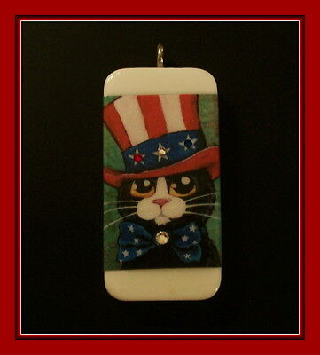 Mr. Sparkle 4Th Of July Cat Domino Pendant