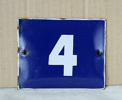 VINTAGE 60`s COBALT BLUE PORCELAIN ENAMEL SIGN PLATE STREET HOME DOOR NUMBER 4