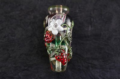 Leah Fairbanks Strawberry and Blossoms  Lampworked Glass Bead