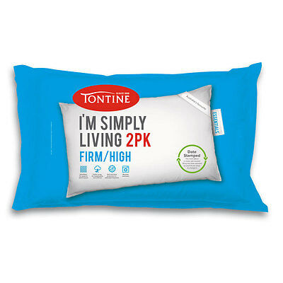 Tontine Simply Living 2 Pack Firm / High Pillow Machine Washable Date Stamped