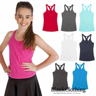 Kids / Ladies Plain T-Back Singlets | Children Fitness Running Casual Racer Top