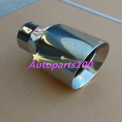 """Universal Muffler Tip 2.25"""" Inlet Straight Round Angle Cut 4"""" Outlet 7.25"""" Long"""