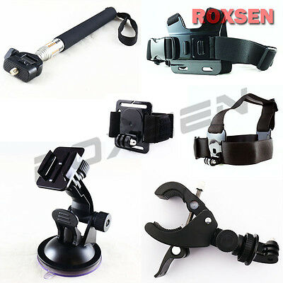New 6-in-1 Bike Chest Head Suction Mount Monopod Kit Set for GoPro Hero 2 3 3+ 4