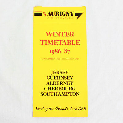 Aurigny Air Services - Airline Timetable - Winter 1986 To 1987
