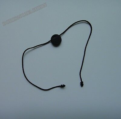 100 Black Round double plug Hang Tag String Snap Lock Pin Fastener Hook Tie 26cm