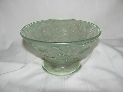 Footed bowl impressed roses green gold