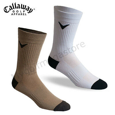 Callaway Golf Mens Tour Tech Crew Socks Brown or White - New