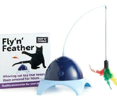 FLY 'N' FEATHER - Sharples N Grant Cat Kitten Play Ruff Tumble Pet Spinning Toy