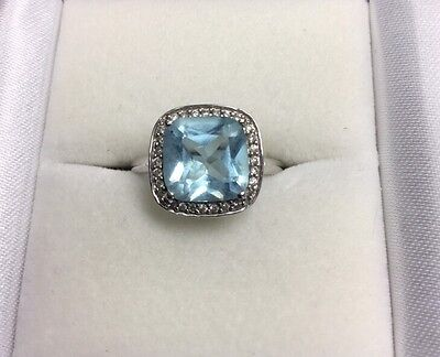 Beautiful 14Kt White Gold Square Blue Topaz And Diamond Ring