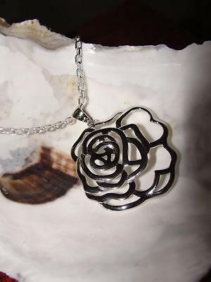 FABULOUS FLOWER Necklace Sterling Silver with 24in Cable Link Chain