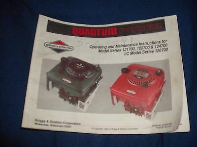 Briggs & Stratton Quantum Power Operating & Maintenance Instructions 121700 +