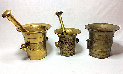 3 Antique Brass Mortar & Pestle  Pharmacy Apothecary Drug Store Bronze