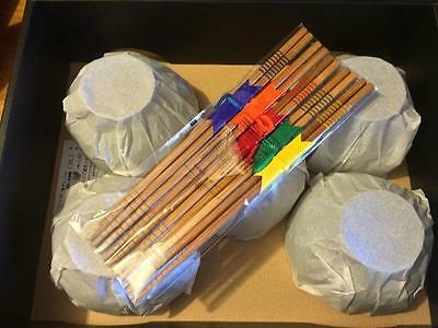 Set Of 5 Japanese Rice Bowls With 5 Chop Sticks