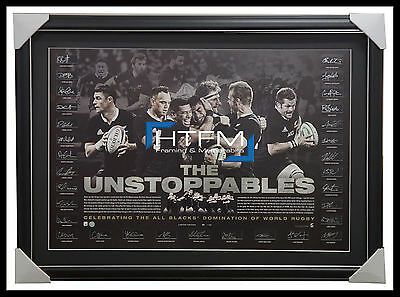 """All Blacks Signed """"The Unstoppables"""" Lithograph By Complete Team Framed CARTER"""