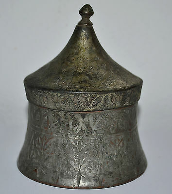 ANTIQUE OTTOMAN COPPER BOX WITH LID TURKISH PERSIAN ISLAMIC 18 th / BOWL