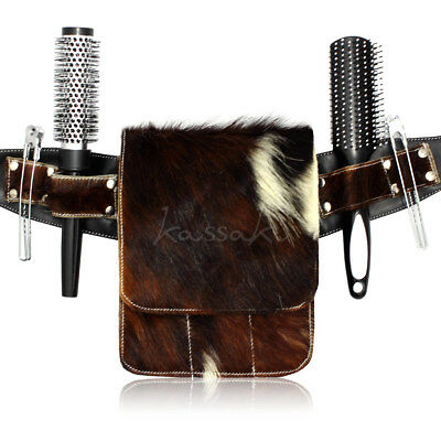 Genuine Cowhide Leather Hairdressing Scissor Pouch Holster Dog Grooming Toolbelt