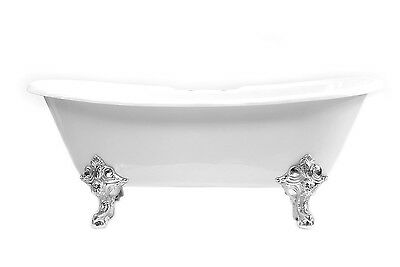 Roll Top Double Slipper Cast Iron Bath Gargoyle Feet NO Tap Holes