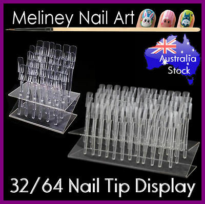 32/64 Nail Tip Display Stand tool Swatch Sticks Acrylic Rack Practice Salon Shop