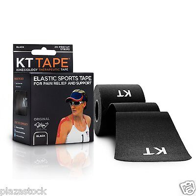 KT Tape Original Cotton Kinesiology Tape - 1 Roll of 20 Precut Strips - Black