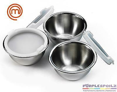 NEW MASTERCHEF PREP BOWLS WITH LIDS Master Chef Mixing Stainless Steel SS SET 3