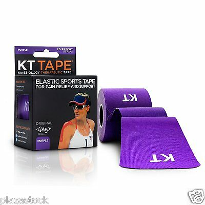 KT Tape Original Cotton Kinesiology Tape - 1 Roll of 20 Precut Strips - Purple